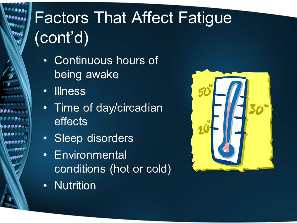 Factors That Affect Fatigue (cont'd) Continuous hours of being awake Illness Time of day/circadian effects Sleep disorders Environmental conditions (hot or cold) Nutrition
