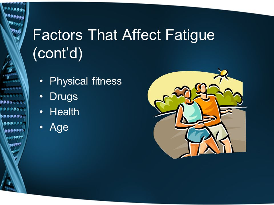Factors That Affect Fatigue (cont'd) Physical fitness Drugs Health Age