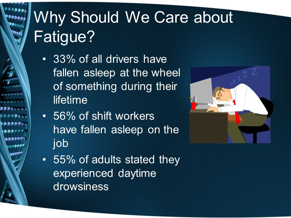 The Human Toll 100,000 fatigue related collisions per year 1,544 fatigue related deaths per year Imagine: –A Boeing 727 crash every six weeks –Titanic sinking once a year –The World Trade Centers being destroyed every two years