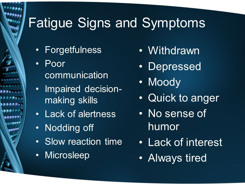 Fatigue Signs and Symptoms Forgetfulness Poor communication Impaired decision- making skills Lack of alertness Nodding off Slow reaction time Microsleep Withdrawn Depressed Moody Quick to anger No sense of humor Lack of interest Always tired