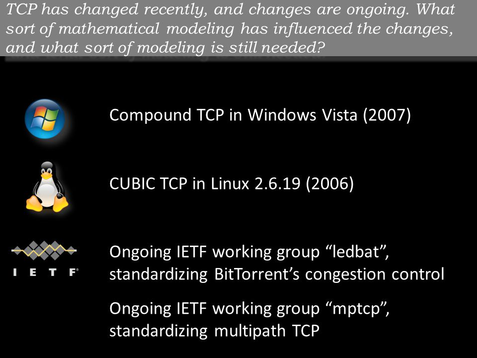 TCP has changed recently, and changes are ongoing.