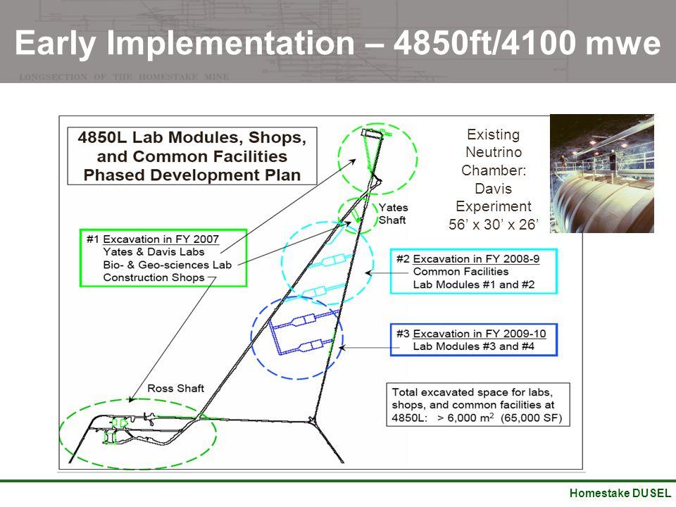 Homestake DUSEL Early Implementation – 4850ft/4100 mwe Existing Neutrino Chamber: Davis Experiment 56' x 30' x 26'