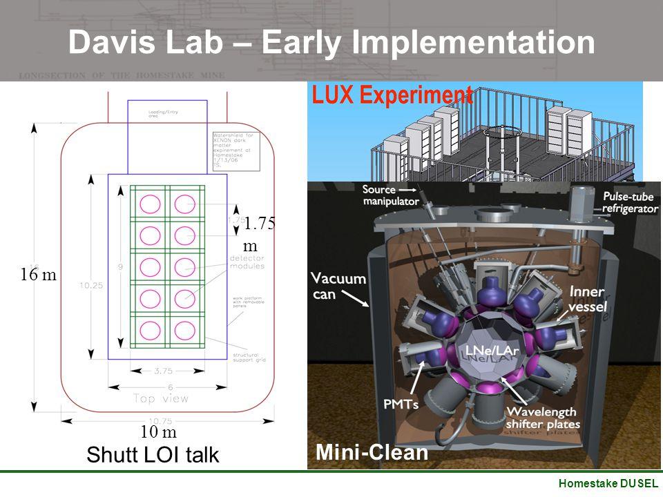 Homestake DUSEL Davis Lab – Early Implementation 16 m 10 m 1.75 m Shutt LOI talk Mini-Clean