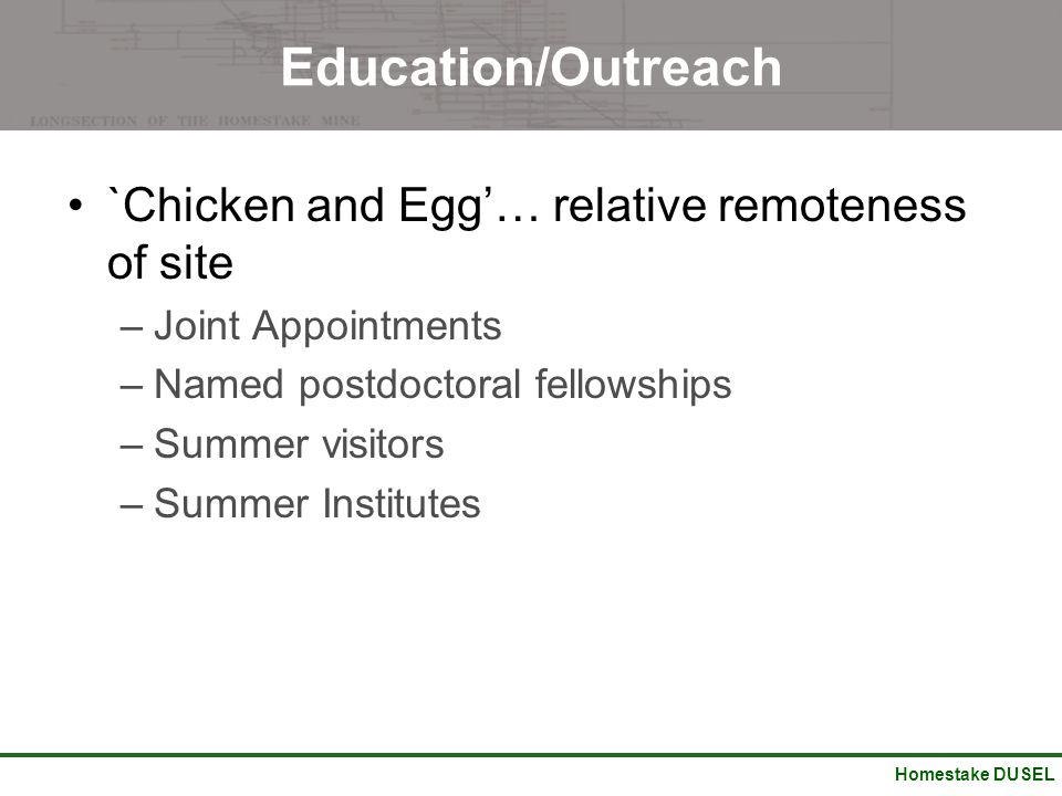 Homestake DUSEL Education/Outreach `Chicken and Egg'… relative remoteness of site –Joint Appointments –Named postdoctoral fellowships –Summer visitors –Summer Institutes