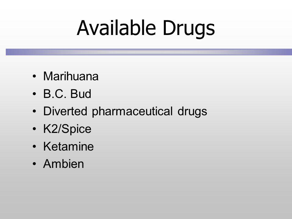 Available Drugs Marihuana B.C. Bud Diverted pharmaceutical drugs K2/Spice Ketamine Ambien