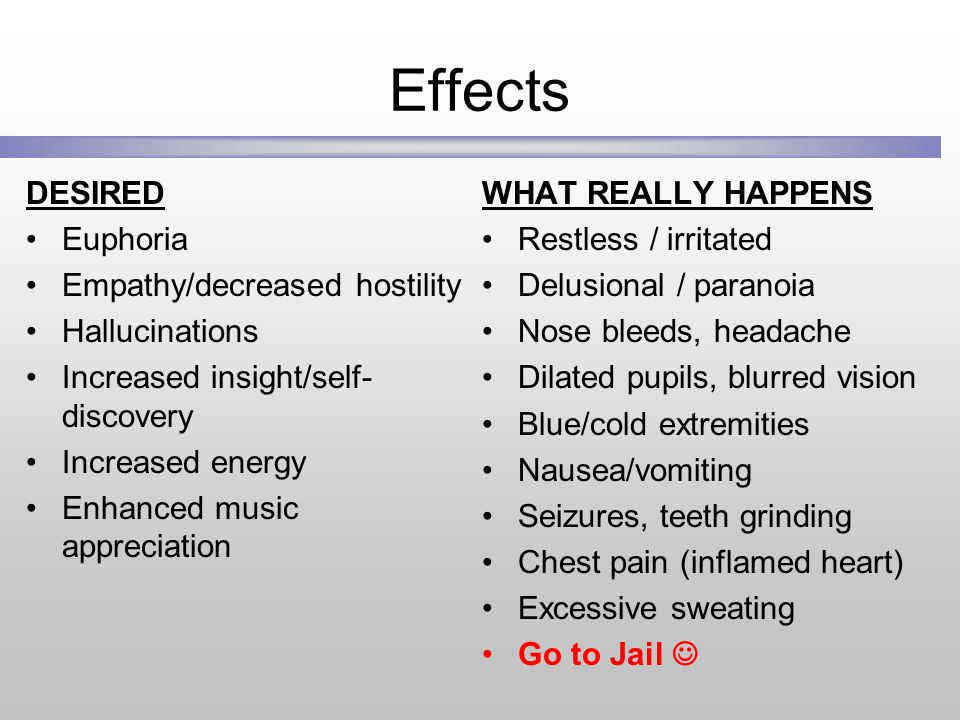 Effects DESIRED Euphoria Empathy/decreased hostility Hallucinations Increased insight/self- discovery Increased energy Enhanced music appreciation WHAT REALLY HAPPENS Restless / irritated Delusional / paranoia Nose bleeds, headache Dilated pupils, blurred vision Blue/cold extremities Nausea/vomiting Seizures, teeth grinding Chest pain (inflamed heart) Excessive sweating Go to Jail