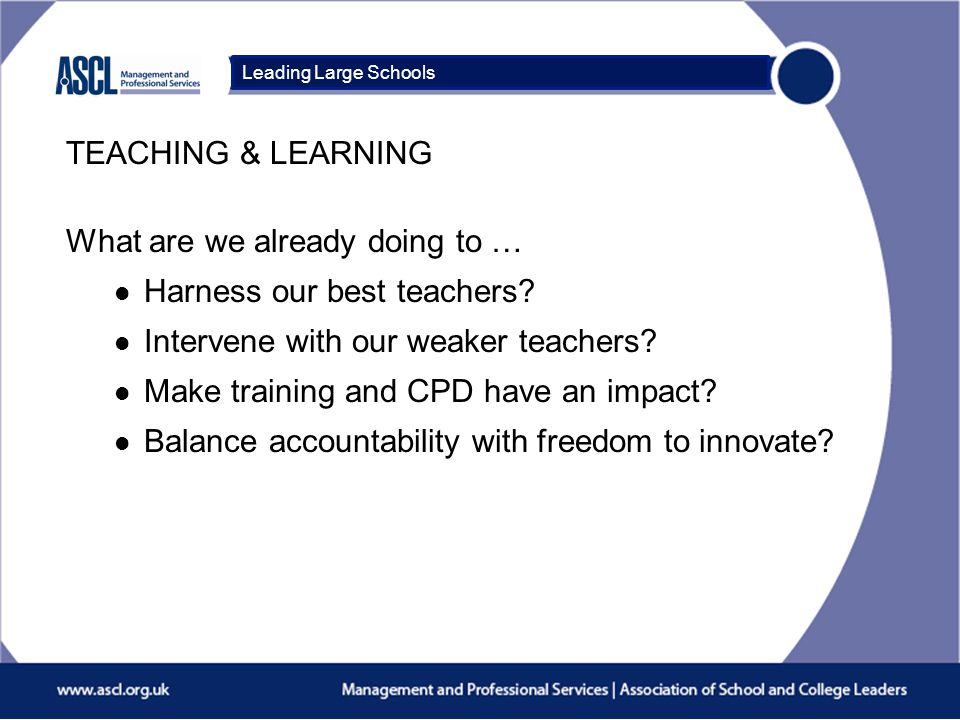 Course Title What are we already doing to … l Harness our best teachers? l Intervene with our weaker teachers? l Make training and CPD have an impact?