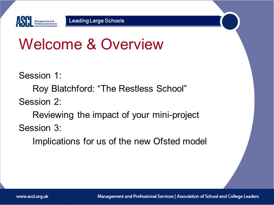 Course Title Session 1: The Restless School Roy Blatchford Leading Large Schools