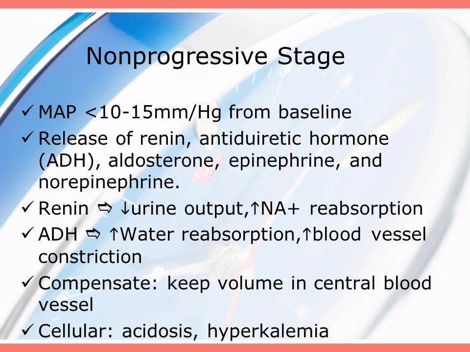 Nonprogressive Stage MAP <10-15mm/Hg from baseline Release of renin, antiduiretic hormone (ADH), aldosterone, epinephrine, and norepinephrine. Renin 