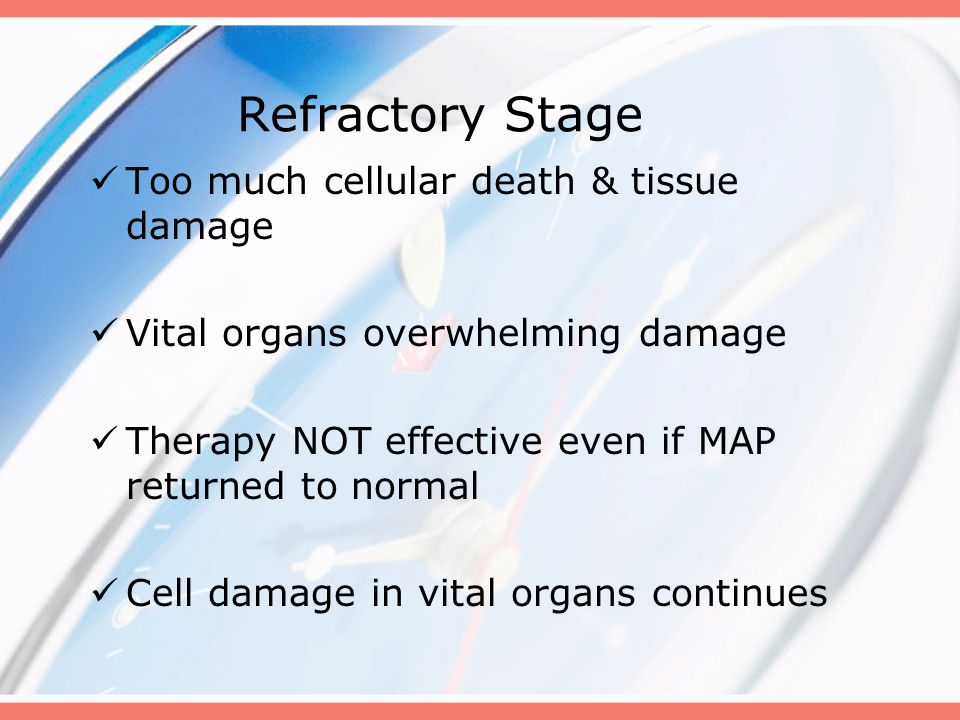 Refractory Stage Too much cellular death & tissue damage Vital organs overwhelming damage Therapy NOT effective even if MAP returned to normal Cell damage in vital organs continues