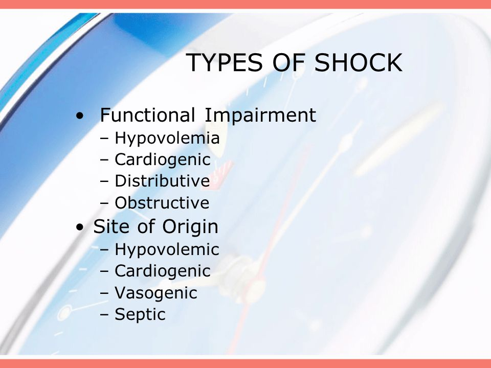 Key Features of Shock Cardiovascular Respiratory Neuromuscular Renal Integumentary Gastrointestinal