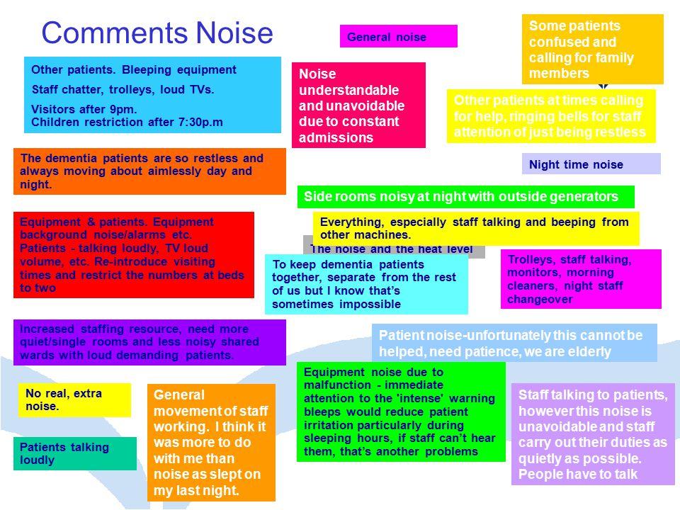 Comments Noise Equipment & patients.Equipment background noise/alarms etc.