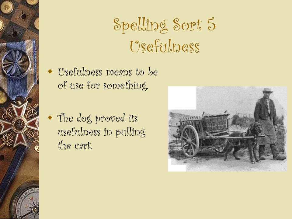 Spelling Sort 5 Usefulness  Usefulness means to be of use for something.  The dog proved its usefulness in pulling the cart.
