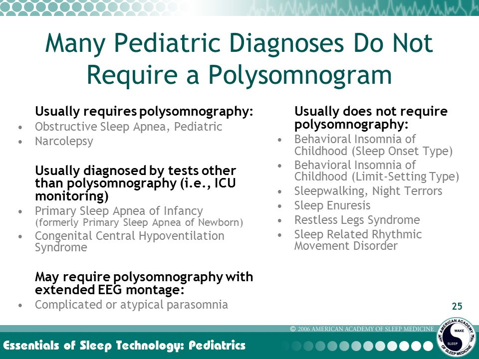 25 Many Pediatric Diagnoses Do Not Require a Polysomnogram Usually requires polysomnography: Obstructive Sleep Apnea, Pediatric Narcolepsy Usually diagnosed by tests other than polysomnography (i.e., ICU monitoring) Primary Sleep Apnea of Infancy (formerly Primary Sleep Apnea of Newborn) Congenital Central Hypoventilation Syndrome May require polysomnography with extended EEG montage: Complicated or atypical parasomnia Usually does not require polysomnography: Behavioral Insomnia of Childhood (Sleep Onset Type) Behavioral Insomnia of Childhood (Limit-Setting Type) Sleepwalking, Night Terrors Sleep Enuresis Restless Legs Syndrome Sleep Related Rhythmic Movement Disorder
