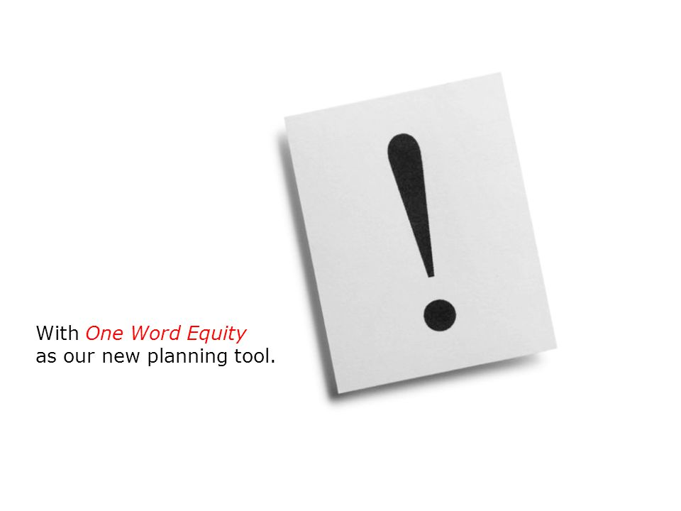 With One Word Equity as our new planning tool.