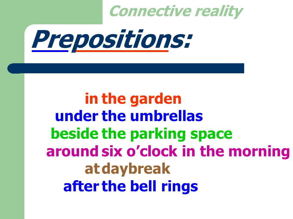 Prepositions: Your wallet is in. My car is parked beside.