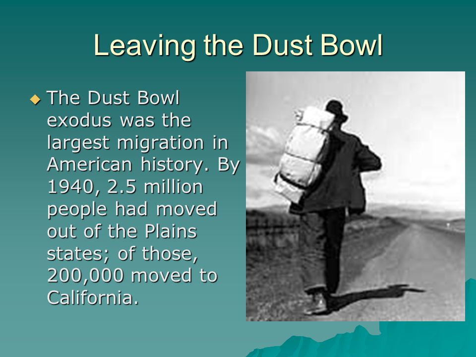 Leaving the Dust Bowl  The Dust Bowl exodus was the largest migration in American history. By 1940, 2.5 million people had moved out of the Plains st