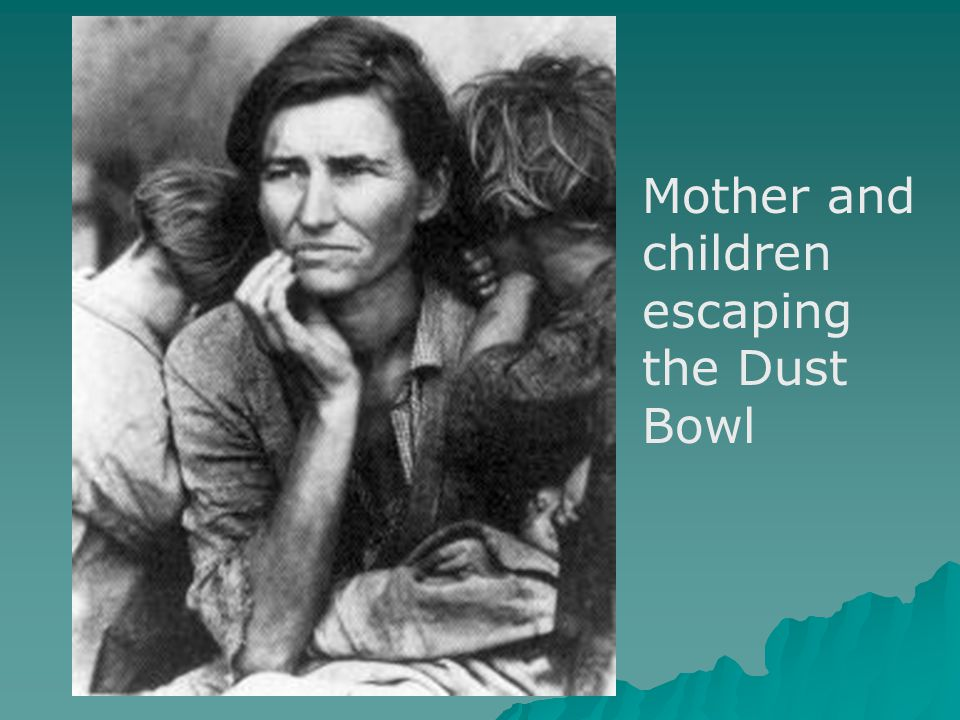 Mother and children escaping the Dust Bowl