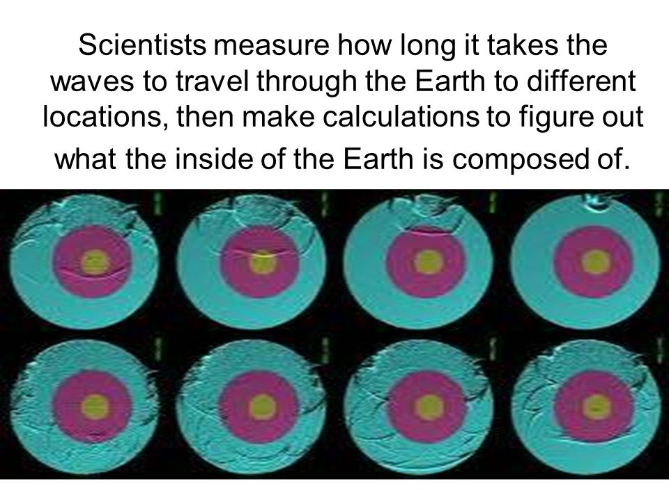 Scientists measure how long it takes the waves to travel through the Earth to different locations, then make calculations to figure out what the insid