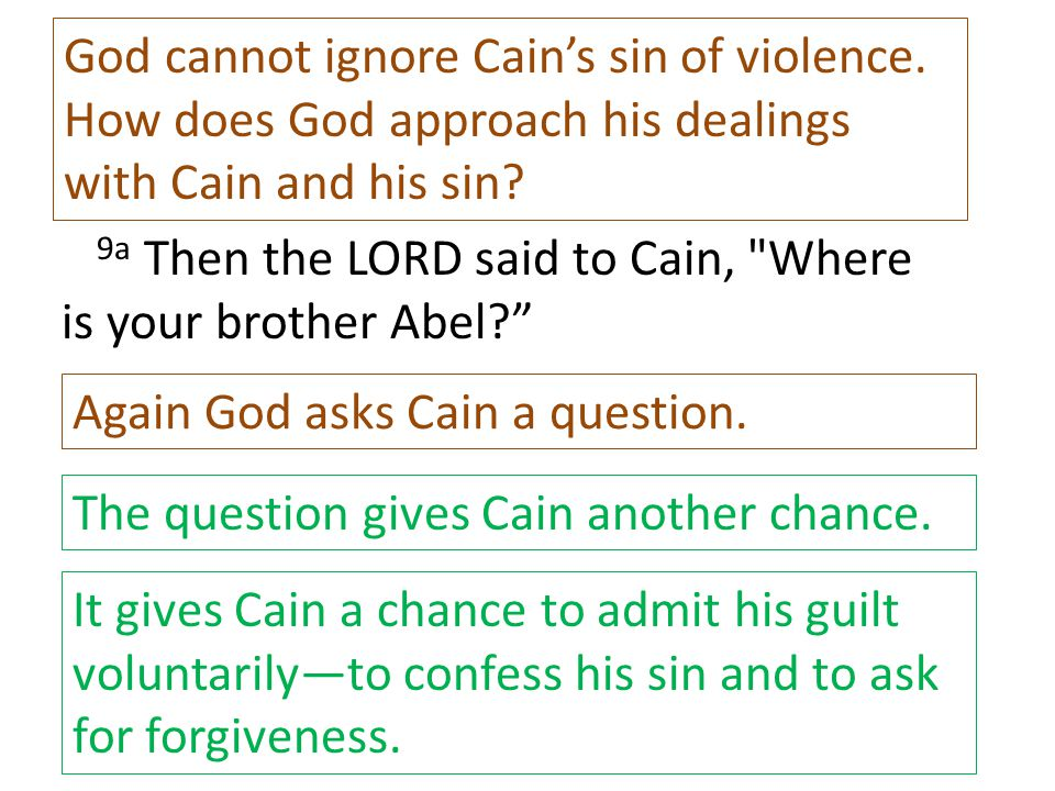 9a Then the LORD said to Cain,