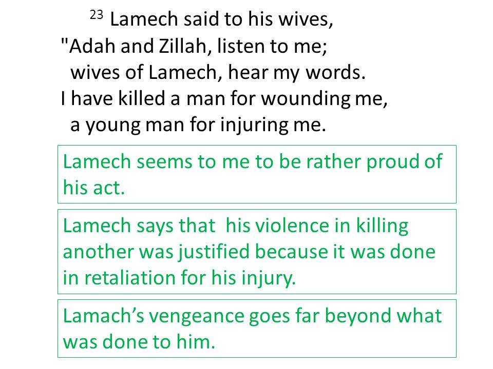23 Lamech said to his wives,