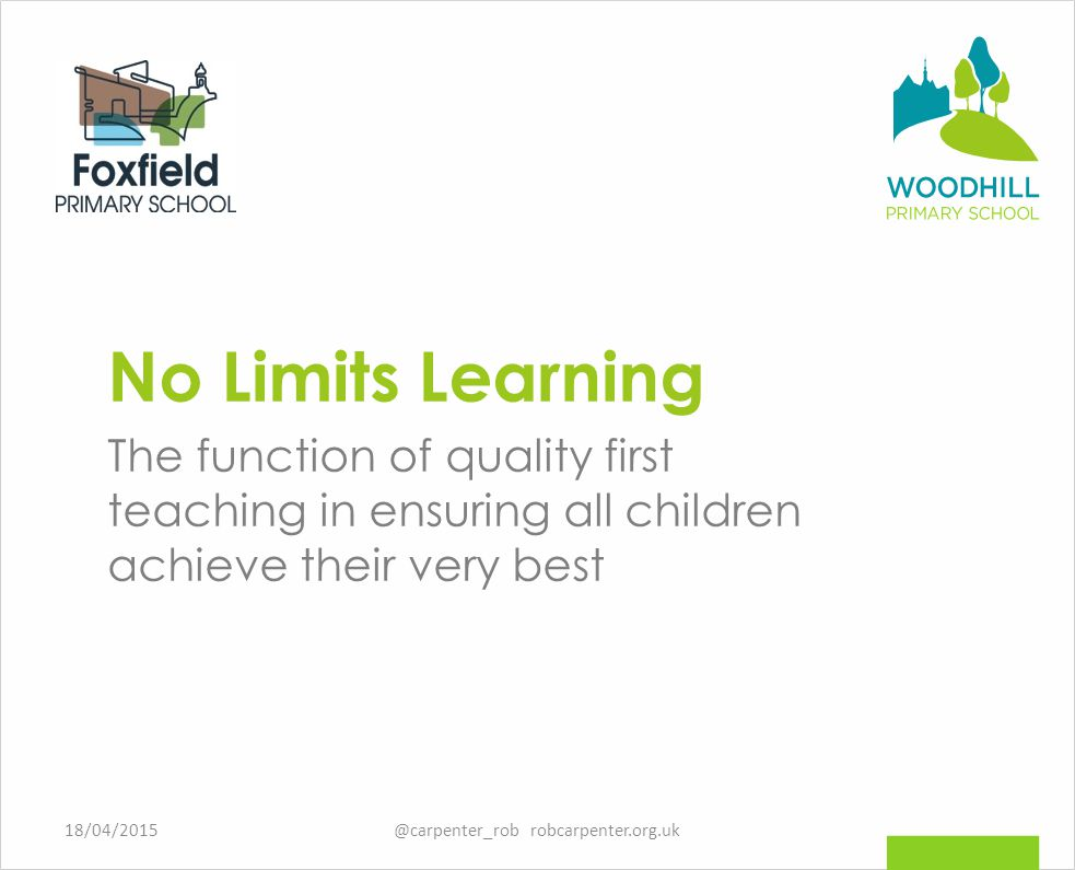 No Limits Learning The function of quality first teaching in ensuring all children achieve their very best 18/04/2015@carpenter_rob robcarpenter.org.uk