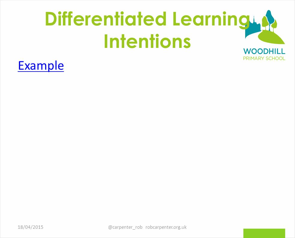 Differentiated Learning Intentions Example @carpenter_rob robcarpenter.org.uk18/04/2015