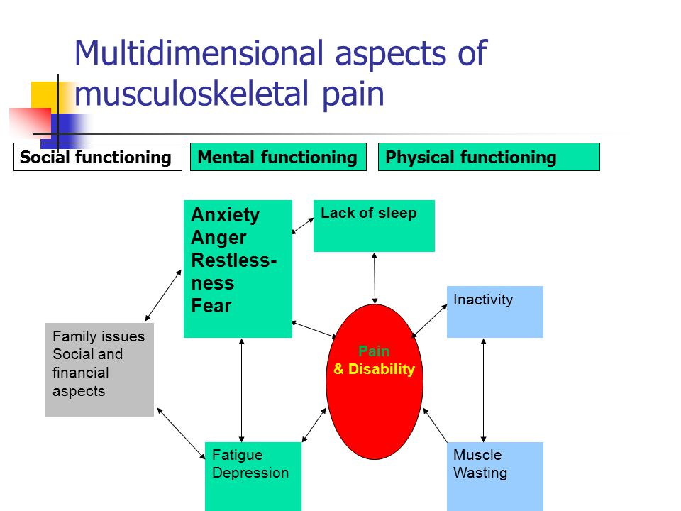 Multidimensional aspects of musculoskeletal pain Inactivity Muscle Wasting Fatigue Depression Pain & Disability Lack of sleep Anxiety Anger Restless- ness Fear Family issues Social and financial aspects Physical functioningMental functioningSocial functioning