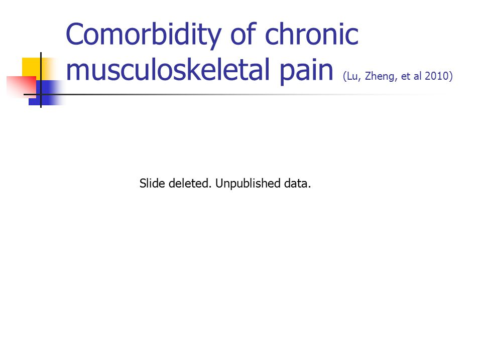 Comorbidity of chronic musculoskeletal pain (Lu, Zheng, et al 2010) Slide deleted.