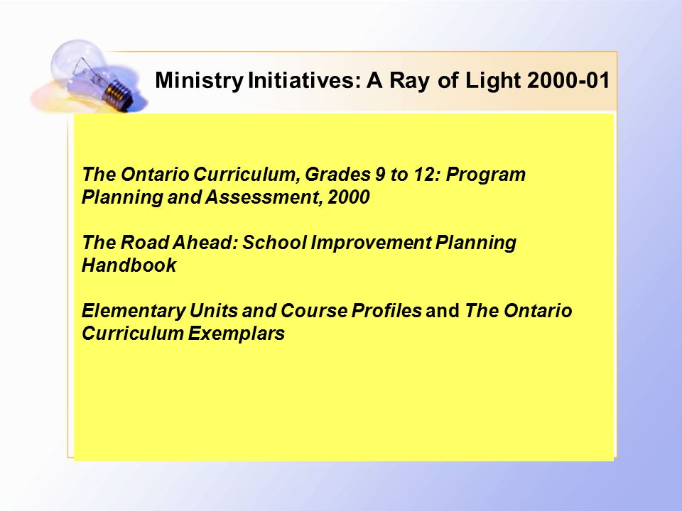 Ministry Initiatives: A Ray of Light 2000-01 The Ontario Curriculum, Grades 9 to 12: Program Planning and Assessment, 2000 The Road Ahead: School Improvement Planning Handbook Elementary Units and Course Profiles and The Ontario Curriculum Exemplars