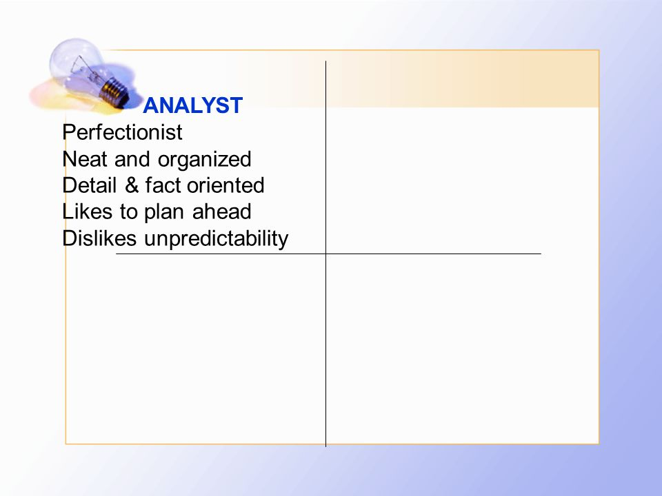 ANALYST Perfectionist Neat and organized Detail & fact oriented Likes to plan ahead Dislikes unpredictability