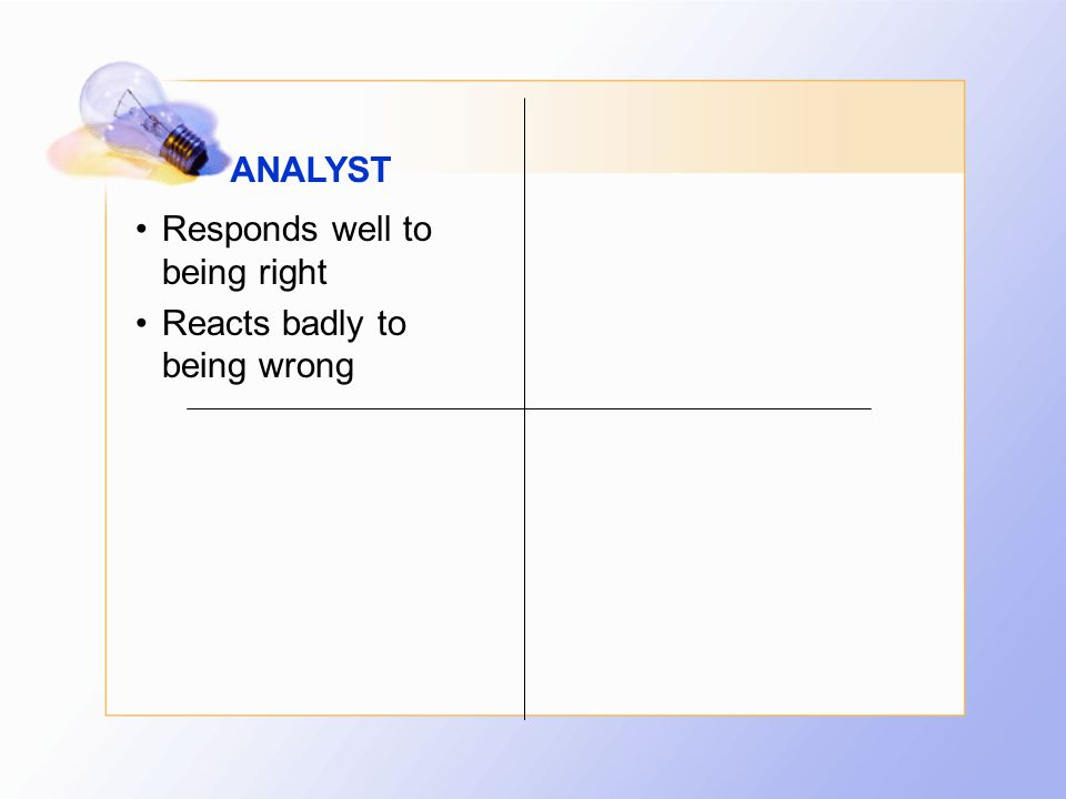 ANALYST Responds well to being right Reacts badly to being wrong