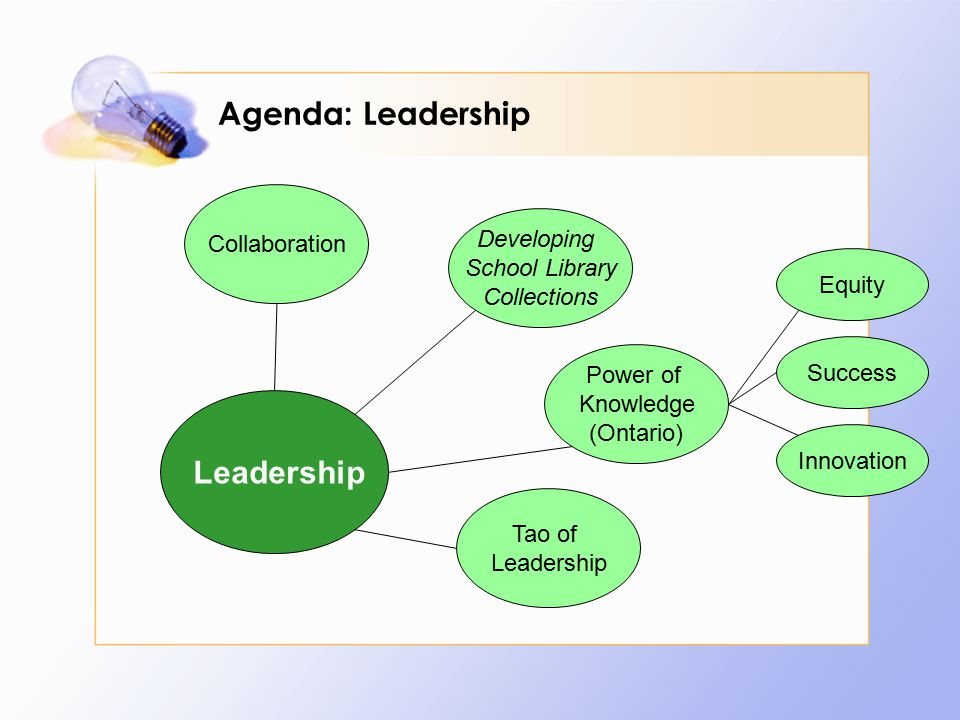 Agenda: Leadership Leadership Collaboration Developing School Library Collections Power of Knowledge (Ontario) Tao of Leadership Equity Success Innovation