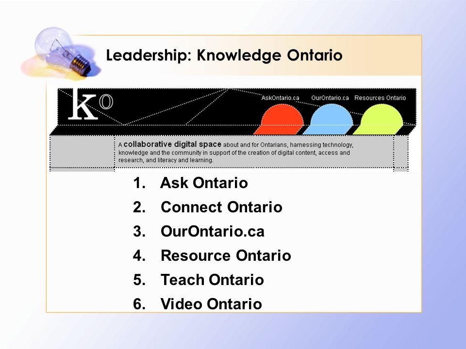 1. Ask Ontario 2. Connect Ontario 3. OurOntario.ca 4.