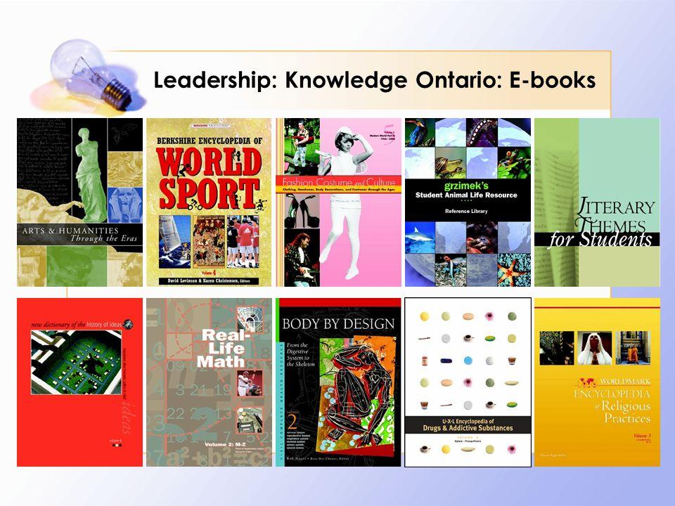 Leadership: Knowledge Ontario: E-books