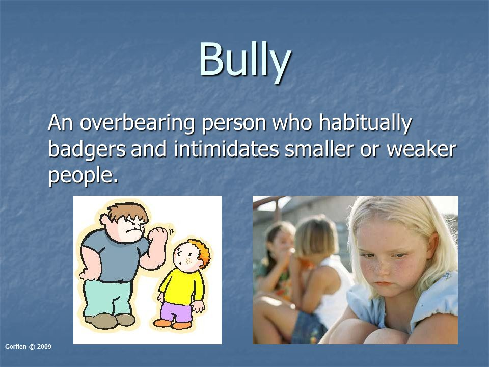 Bully An overbearing person who habitually badgers and intimidates smaller or weaker people. Gorfien © 2009