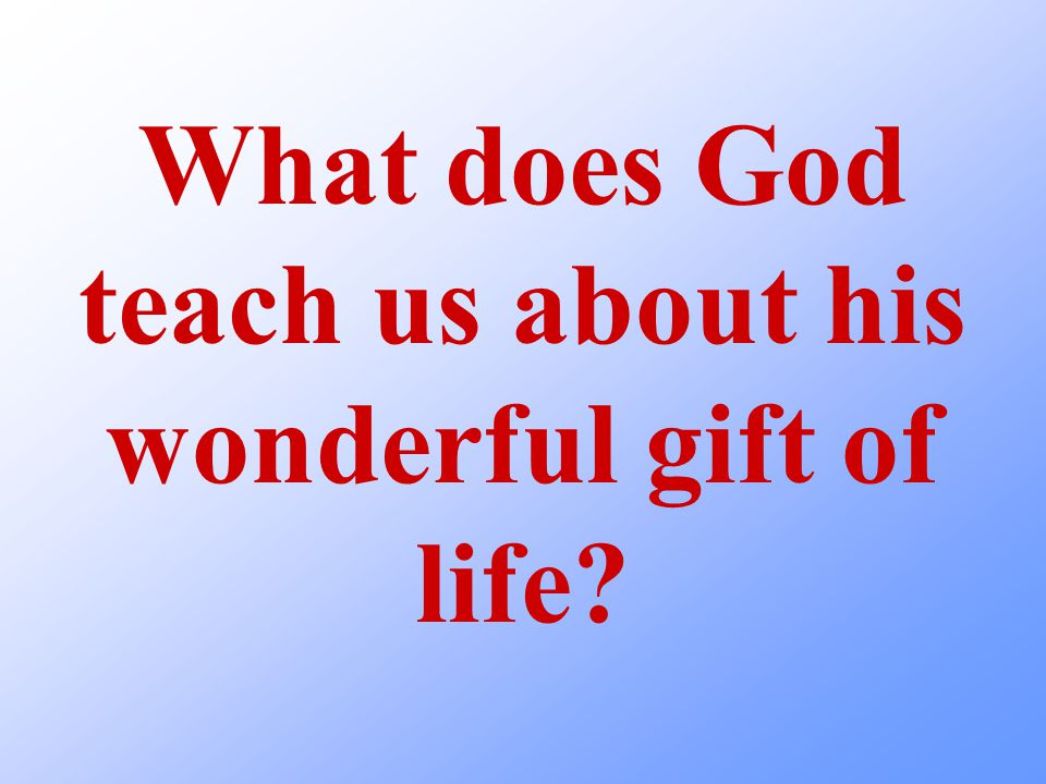 What does God teach us about his wonderful gift of life?
