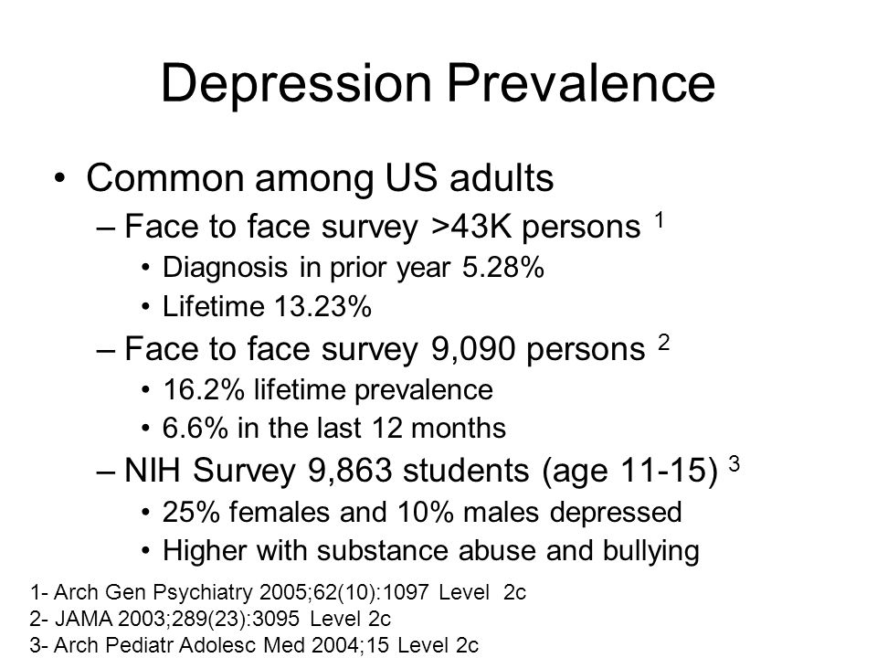 Depression Prevalence Common among US adults –Face to face survey >43K persons 1 Diagnosis in prior year 5.28% Lifetime 13.23% –Face to face survey 9,090 persons 2 16.2% lifetime prevalence 6.6% in the last 12 months –NIH Survey 9,863 students (age 11-15) 3 25% females and 10% males depressed Higher with substance abuse and bullying 1- Arch Gen Psychiatry 2005;62(10):1097 Level 2c 2- JAMA 2003;289(23):3095 Level 2c 3- Arch Pediatr Adolesc Med 2004;15 Level 2c