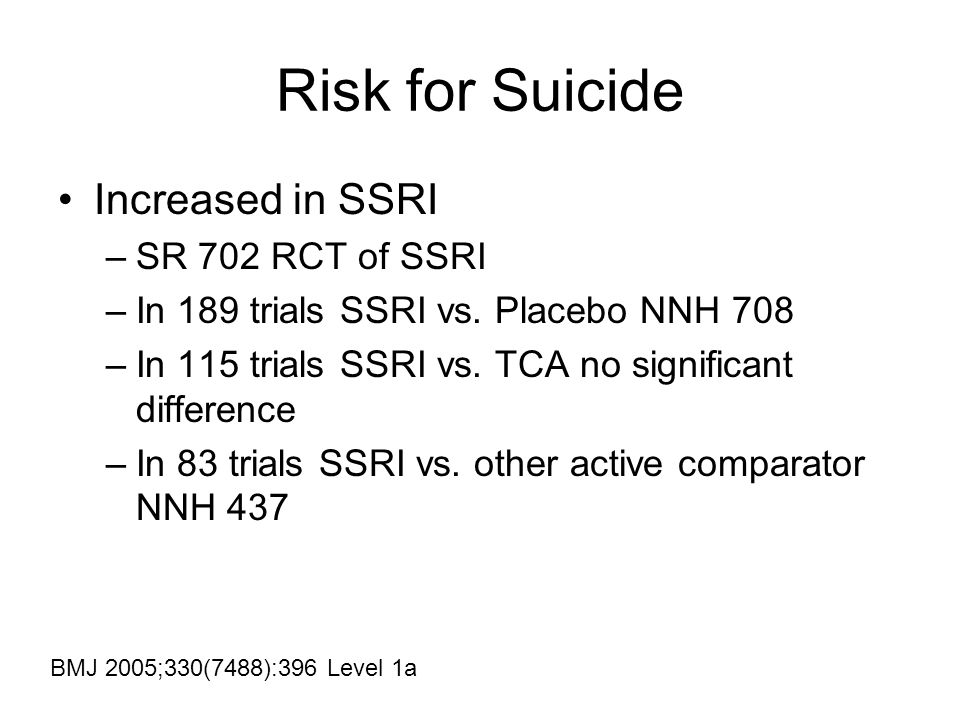 Risk for Suicide Increased in SSRI –SR 702 RCT of SSRI –In 189 trials SSRI vs.