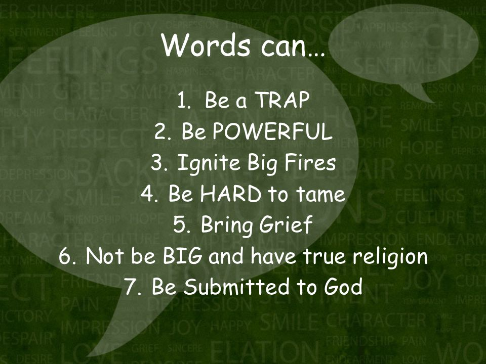 Words can… 1.Be a TRAP 2.Be POWERFUL 3.Ignite Big Fires 4.Be HARD to tame 5.Bring Grief 6.Not be BIG and have true religion 7.Be Submitted to God