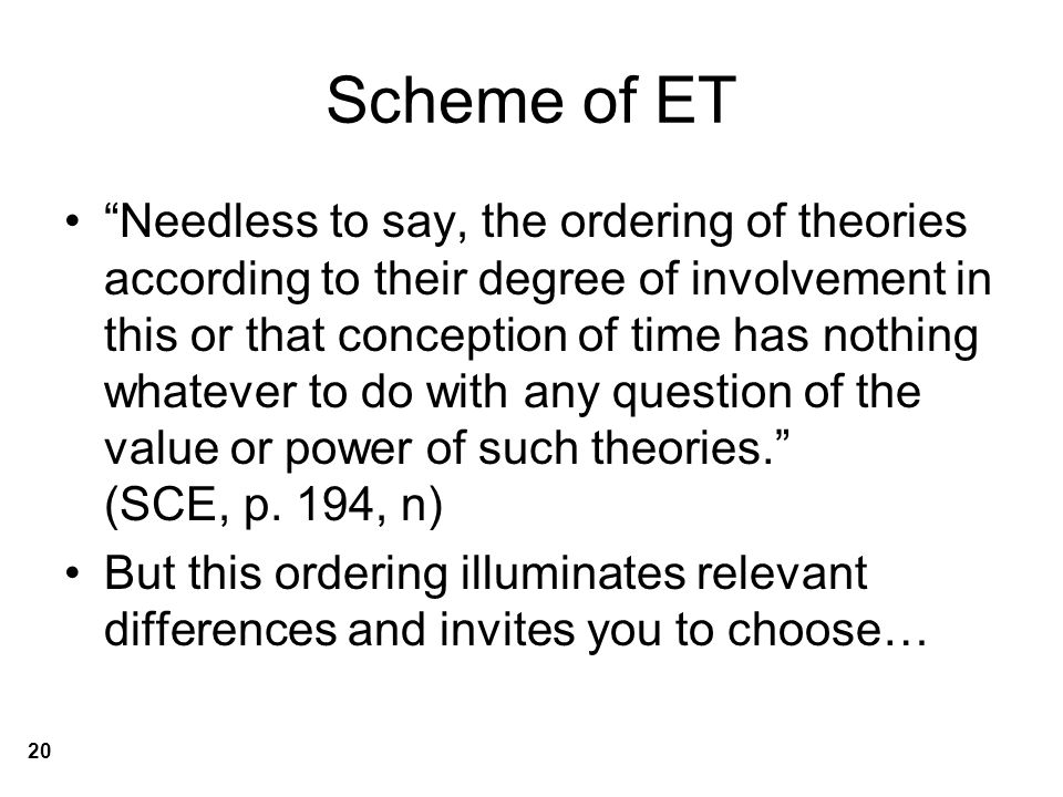 Scheme of ET Needless to say, the ordering of theories according to their degree of involvement in this or that conception of time has nothing whatever to do with any question of the value or power of such theories. (SCE, p.