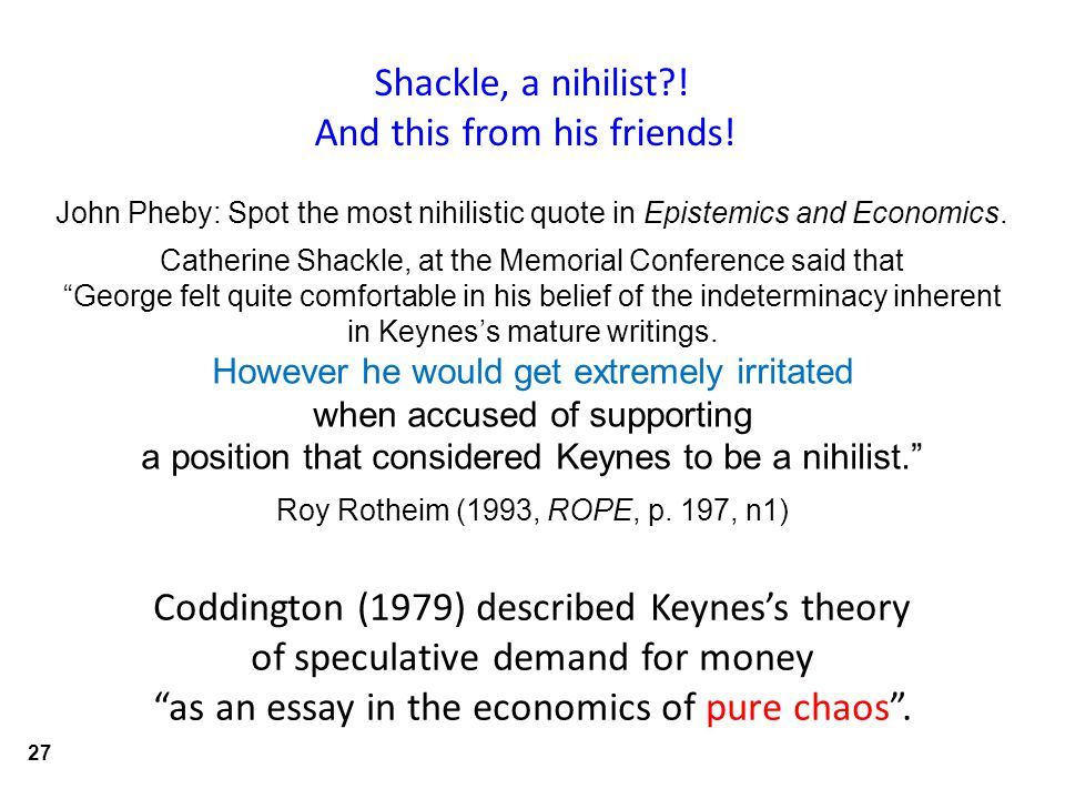 Coddington (1979) described Keynes's theory of speculative demand for money as an essay in the economics of pure chaos .