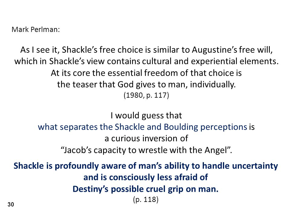 Mark Perlman: As I see it, Shackle's free choice is similar to Augustine's free will, which in Shackle's view contains cultural and experiential elements.