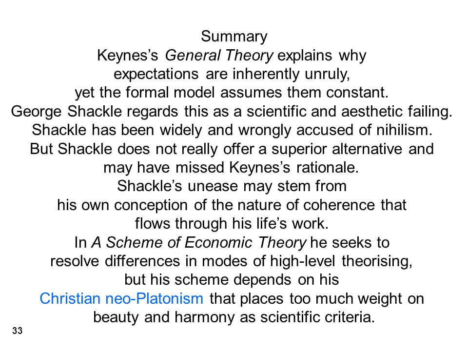 Summary Keynes's General Theory explains why expectations are inherently unruly, yet the formal model assumes them constant.
