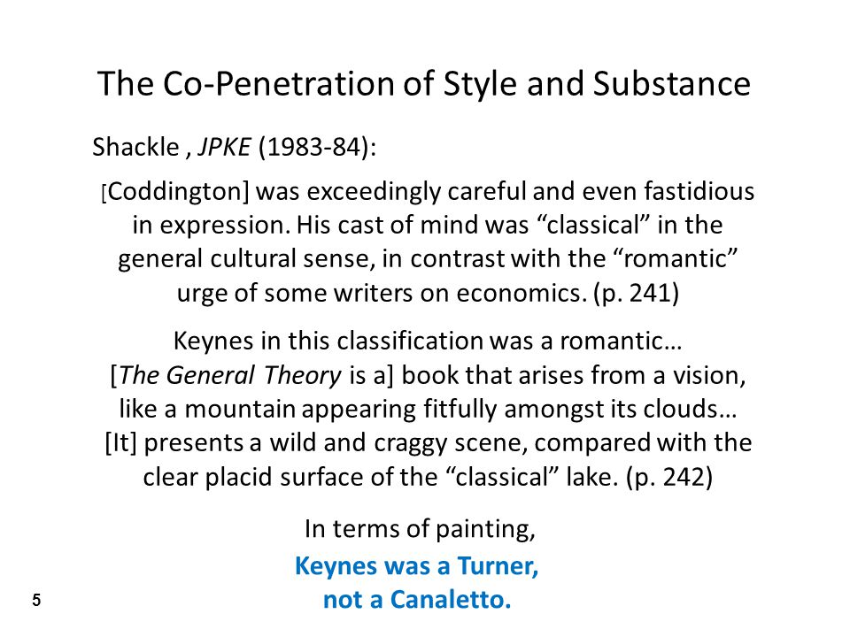 Shackle, JPKE (1983-84): [ Coddington] was exceedingly careful and even fastidious in expression.