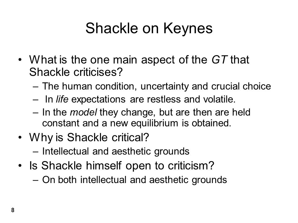 Shackle on Keynes What is the one main aspect of the GT that Shackle criticises.