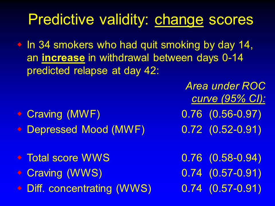 Predictive validity: change scores  In 34 smokers who had quit smoking by day 14, an increase in withdrawal between days 0-14 predicted relapse at day 42: Area under ROC curve (95% CI):  Craving (MWF) 0.76 (0.56-0.97)  Depressed Mood (MWF) 0.72 (0.52-0.91)  Total score WWS0.76 (0.58-0.94)  Craving (WWS) 0.74 (0.57-0.91)  Diff.