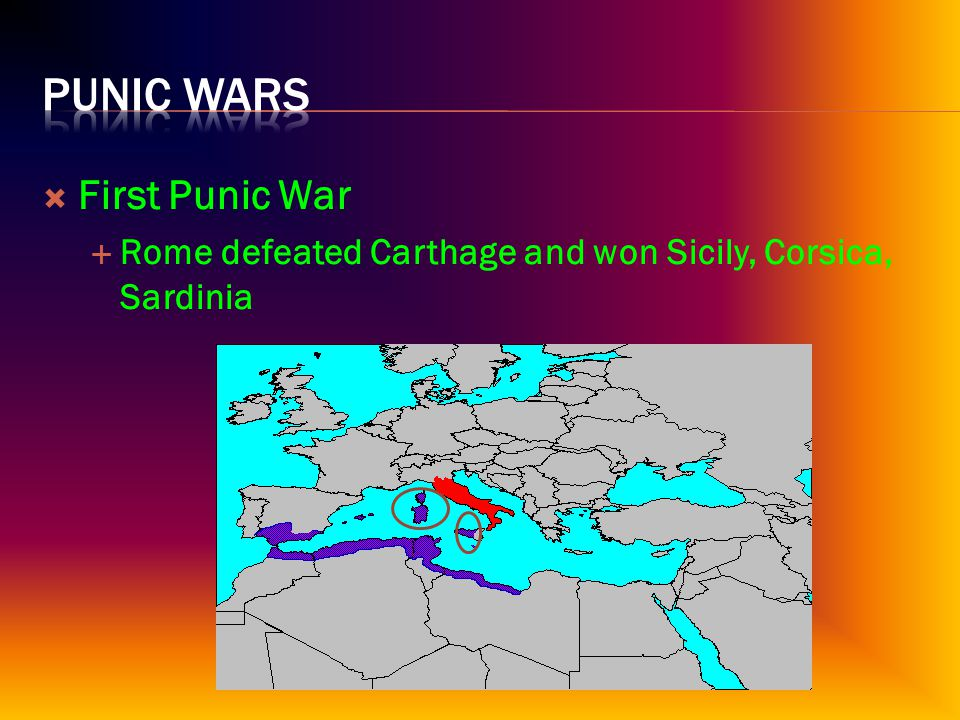  First Punic War  Rome defeated Carthage and won Sicily, Corsica, Sardinia