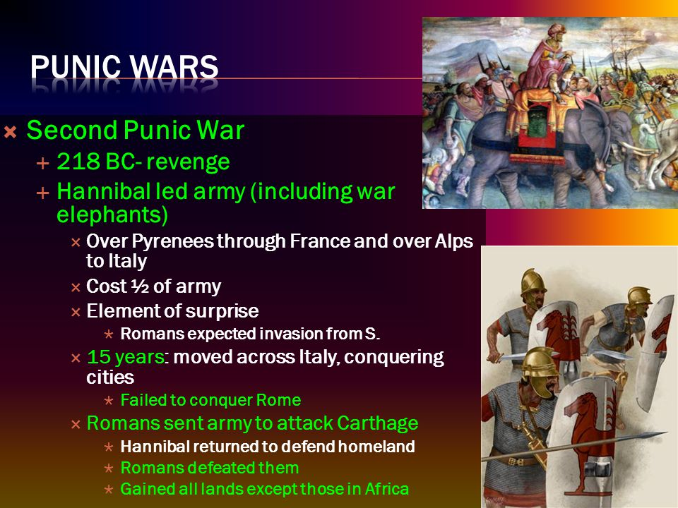  Third Punic War  Rome never forgot Hannibal invasion  Senate: Carthage must be destroyed  Third war: Rome destroyed Carthage  Survivors killed or sold to slavery  Poured salt on the earth so that nothing would grow  Masters of Mediterranean world