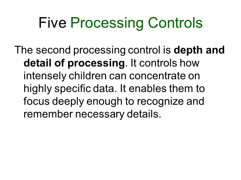 Five Processing Controls The second processing control is depth and detail of processing.